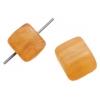 Glass Pressed Beads 8X10mm Cubes Butter Yellow Matt